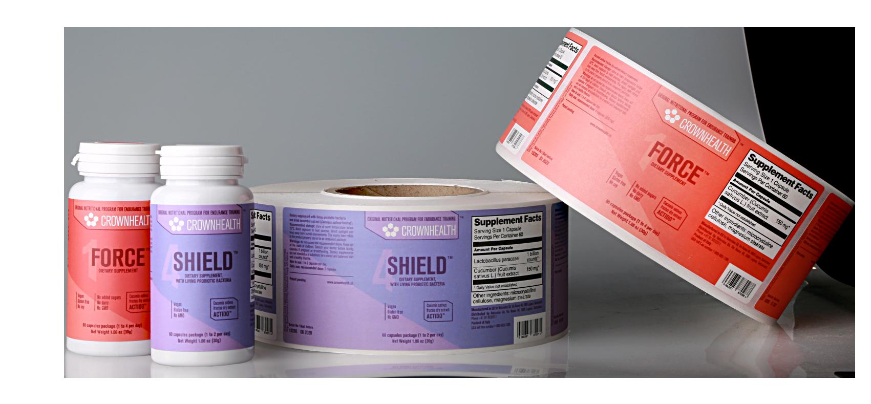 Etichette per integratori Crownhealth